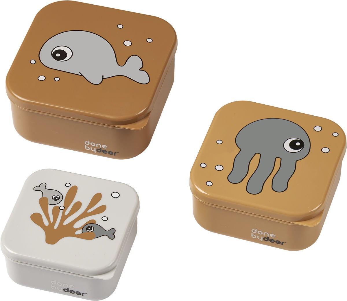 Done By Deer Snackbox 3er-Pack Sea Friends, Mustard/Grey