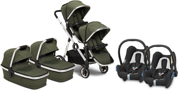 Beemoo Pro Multi Zwillingswagen inkl. Babywanne & Maxi-Cosi CabrioFix, Cilantro Green