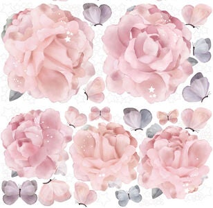 Schmooks Wallsticker Peonies and Butterflies, Pink