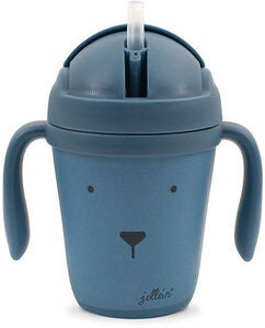 Jollein Becher Mit Trinkhalm Animal Club, Steel Blue