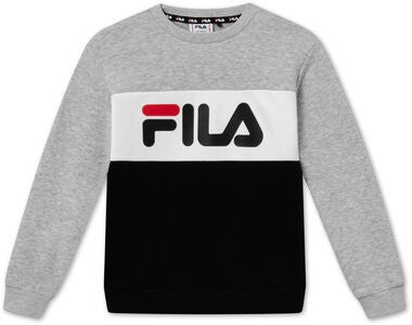 FILA Night Blocked Crew Pullover, Light Grey Melange