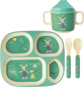 Rice Melaminset Bunny 4 Teile, Green