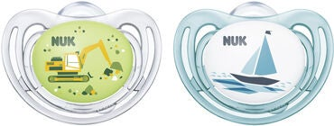 NUK Freestyle 0–6 Monate Nuckel 2er Pack, Grün/Blau