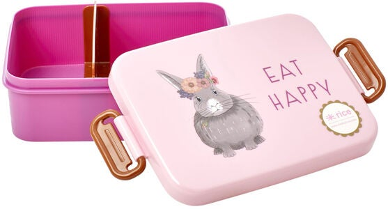Rice Lunchbox Mit Trennwand Farm Animals, Pink