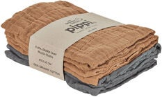 Pippi Organic Musselindecke 4er-Pack, Indian Tan