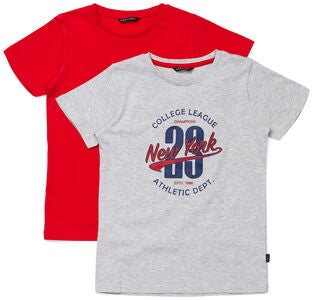 Luca & Lola Riccione T-Shirt 2er-Pack, Grey/Red