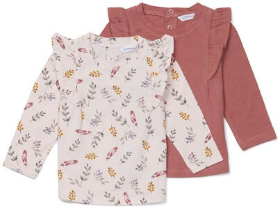 Luca & Lola Lina Top 2er-Pack Baby, Flowers/Pink