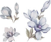 That's Mine Wallsticker Magnolia Flower, Blue