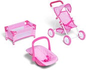 Cloudberry Castle Puppen-Travelsystem, Rosa