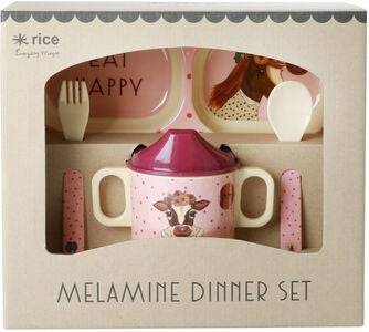 Rice Melaminset Farm Animals 4-teilig, Pink