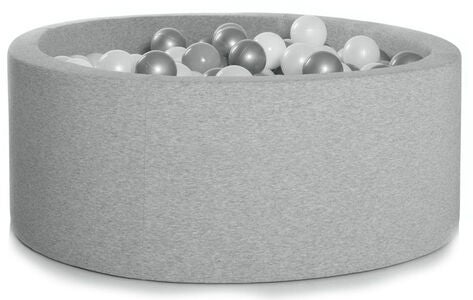 KIDKII Bällebad 30x90 Rund, Light Grey