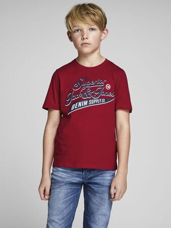 Jack & Jones Crewneck T-Shirt, Tango Red