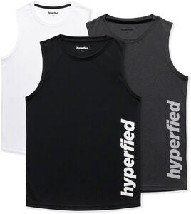 Hyperfied Bounce Tanktop 3er Pack, Black/Grey Melange/White