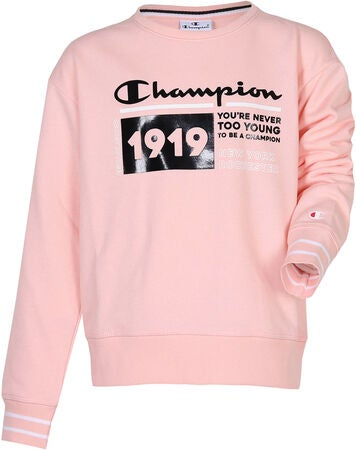 Champion Kids Crewneck Sweatshirt, Impatiens Pink