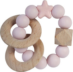 Nibbling Natural Wood Rassel, Baby Pink