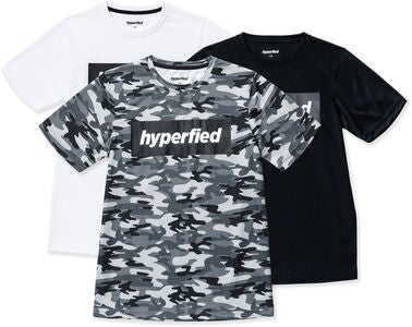 Hyperfied Edge T-Shirt 3er Pack, Black/White/Camo Blue