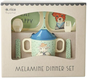 Rice Melaminset Farm Animals 4-teilig, Green/Blue