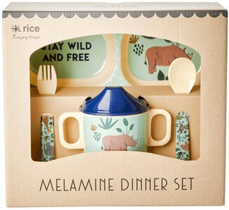 Rice Melaminset Jungle Animals 4 Teile, Blau