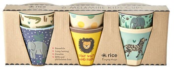 Rice Becher Melamin Klein Jungle Print 6er-Pack, Blue