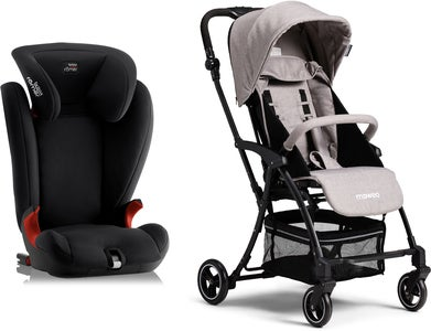 Britax Römer KidFix SL, Cosmos Black Reisepaket Moweo Turn Light Buggy, Grey