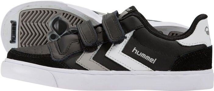 Hummel Stadil Jr Leather Low Sneaker, Schwarz/Weiß/Grau