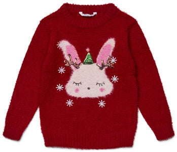 Luca & Lola Pullover Winter Bunny, Red