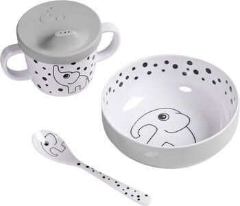 Done By Deer First Meal Melaminset Happy Dots, Grey