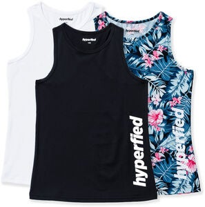 Hyperfied Split Tanktop 3er Pack, Black/White/Tropical Flower