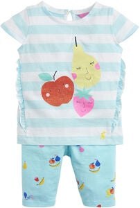 Tom Joule Oberteil & Leggings Set, Aqua Stripe Fruit