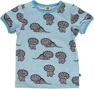 Småfolk Dinosaurier T-Shirt, Light Blue