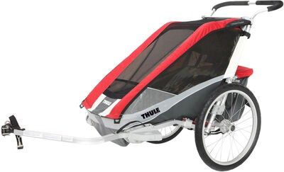 Thule Chariot Cougar 1 mit Fahrrad-, Jogging- und Spazierkit, Rot