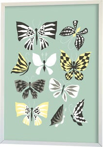 Littlephant Poster Graphic Print Butterfly Family 50x70, Aqua