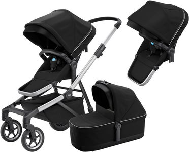 Thule Sleek Geschwisterwagen inkl. Babywanne, Midnight Black