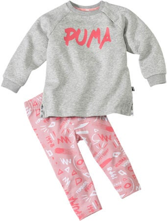 Puma Minicats Girls Aop Shirt und Leggings, Light Grey Heat