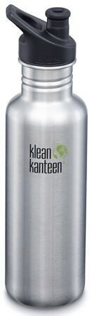 Klean Kanteen Classic Sports Cap Trinkflasche 800ml, Brushed Stainless