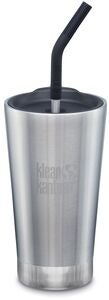 Klean Kanteen Insulated Tumbler Mit Trinkhalmdeckel 473ml, Brushed Stainless
