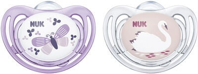 NUK Freestyle 0–6 Monate Nuckel 2er Pack, Lila/Rosa