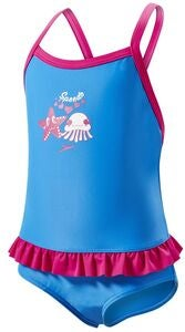 Speedo Fantasy Flowers Frill Suit Junior Badeanzug, Pink/Navy/Lime
