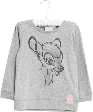 Wheat Bambi Happy Langarm-Shirt, Melange Grey