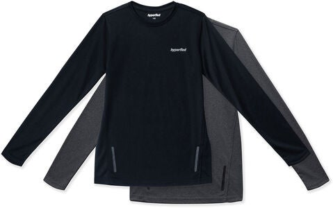 Hyperfied Thunder Long Sleve T-Shirt 2er Pack, Black/Grey Melange