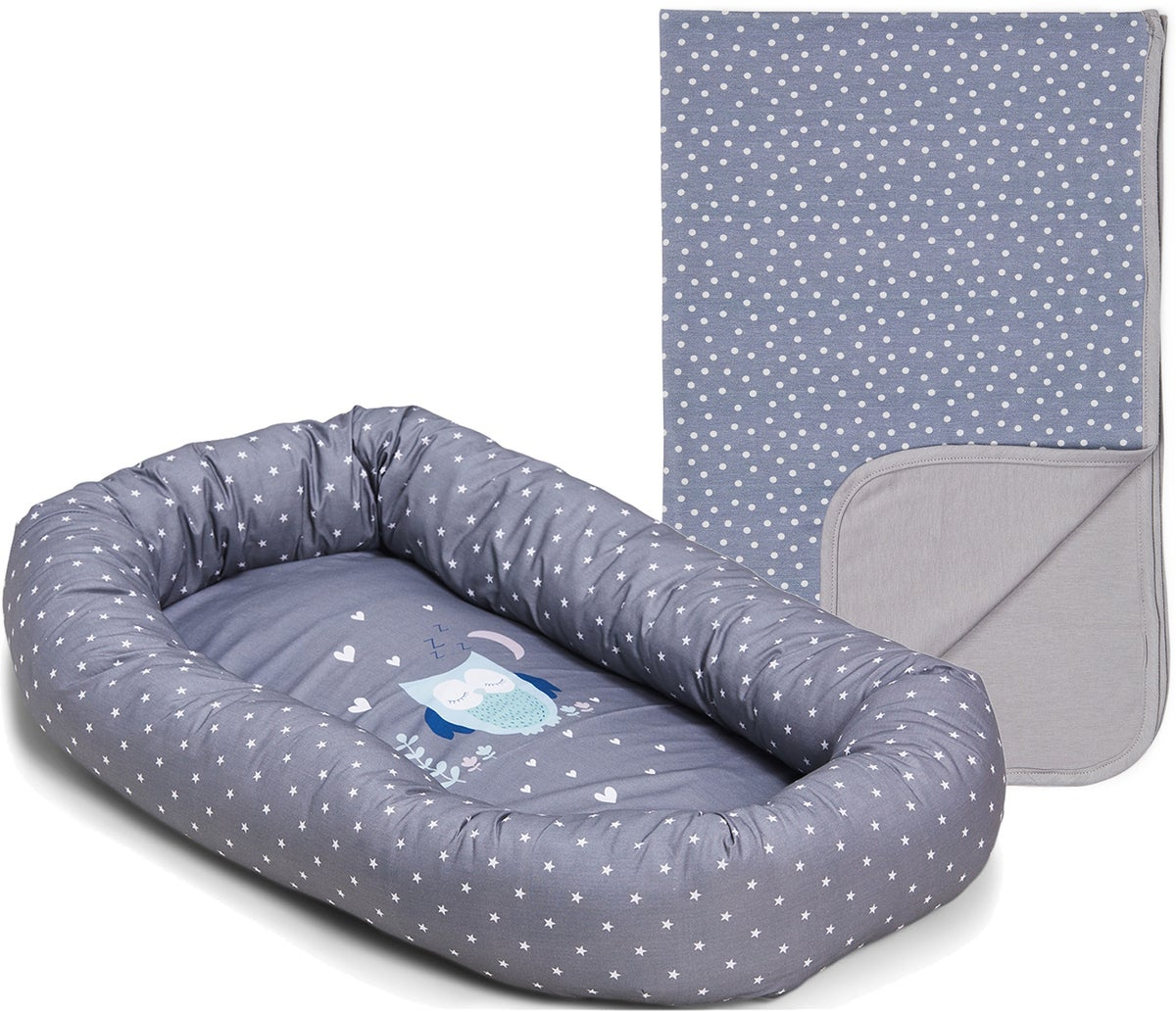 Alice & Fox Babynest Owl,Grey Mit  Alice & Fox Decke Dots, Grey