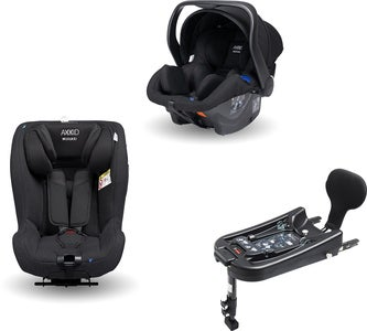 Axkid Modukid Seat Kindersitz, Black + Infant Babyschale Inkl. Basisstation