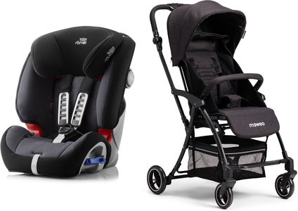 Britax Römer Multi-Tech III, Storm Grey Reisepaket Moweo Turn Light Buggy, Black