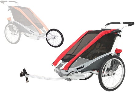 Thule Chariot Cougar 1 mit Fahrrad- und Joggingkit, Rot
