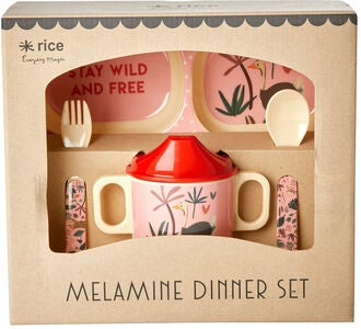 Rice Melaminset Jungle Animals 4 Teile, Rot