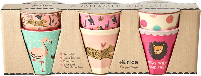 Rice Becher Melamin Klein Jungle Print 6er-Pack, Pink