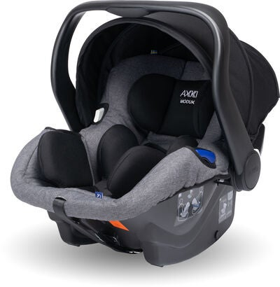 Axkid Modukid Seat Kindersitz, Grey + Infant Babyschale Inkl. Basisstation