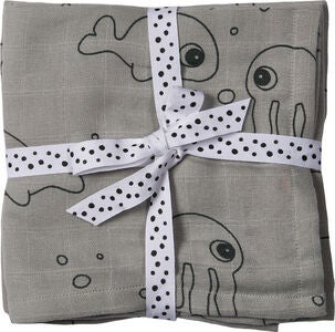 Done By Deer Tuch Sea Friends 70x70 2er-Pack, Grey