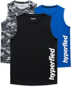 Hyperfied Bounce Tanktop 3er Pack, Black/Camo Black/Blue