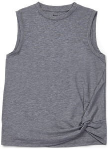 Hyperfied Jersey Knot Tank Top, Grey Melange